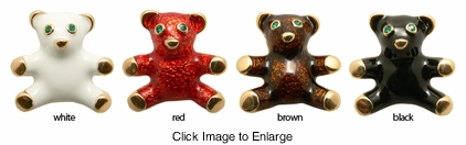 Tiny Enamel Teddy Bear Pin Broach