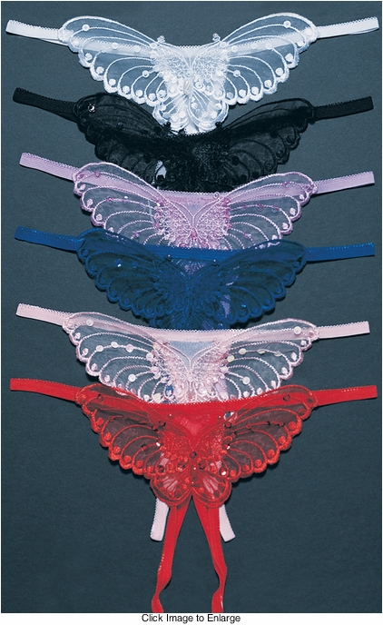 Sheer Butterfly Crotchless Panty in Plus Size