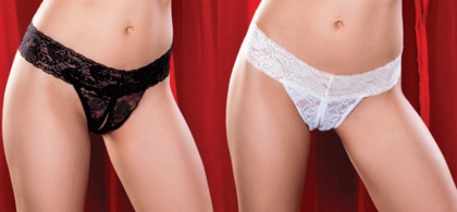 Open Crotch Lace Thong available in Red, White and Black.