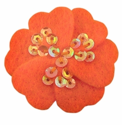 "1.75"" Felt Flower Hair Clips with Sequin Center in Tangerine for $5.00"