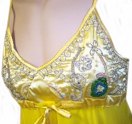 Yellow Satin And Chiffon Beaded Top