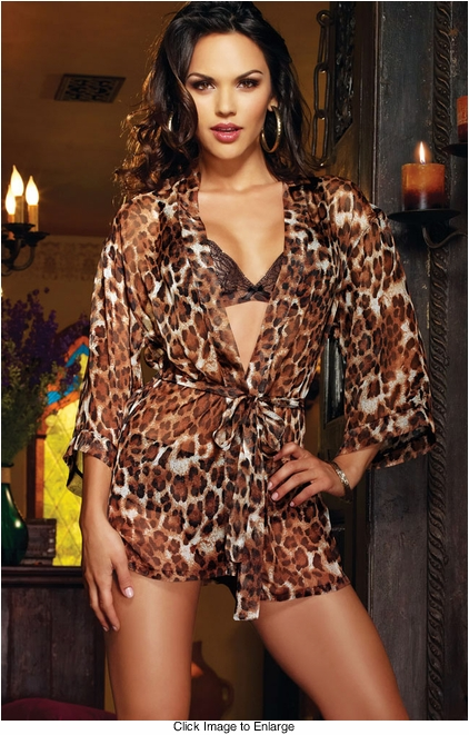 Leopard Robe, Lace Bra and Cheeky Panty