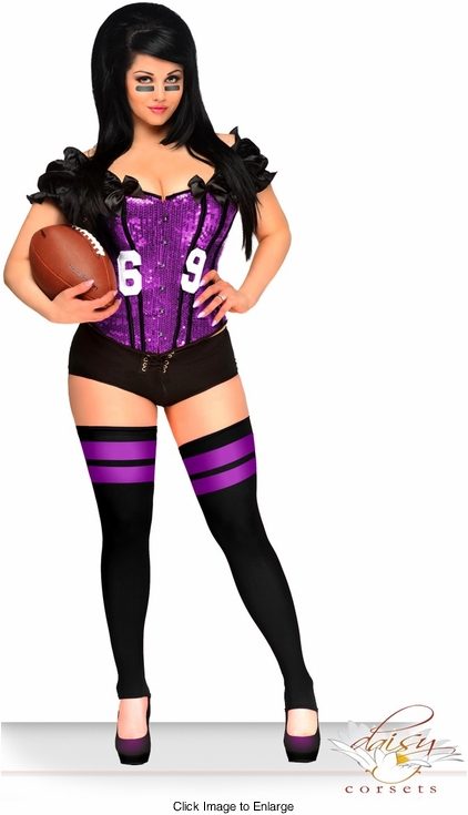 2-Piece Purple Sexy Football Fantasy Corset Costume