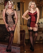 Plus Size Leopard Satin and Mesh Garter Slip Dress