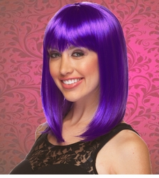 Chic Tapered Wig with Full Bangs in Purple