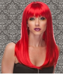 Vixen Long Hair Wig with Full Bangs in Firecracker Red