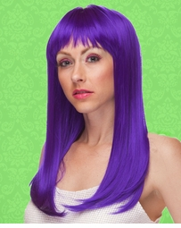 Vixen Long Hair Wig with Full Bangs in Purple