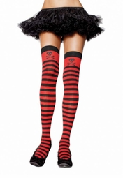 Pirate Stripe Thigh Highs with Skull Print