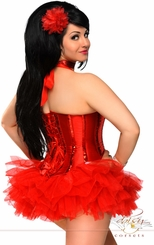 "Red ""Showgirl"" Burlesque Corset & Pettiskirt"