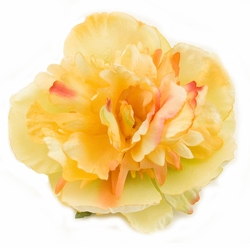 "4"" Summer Yellow Peony Flower Pony Hair Clip"