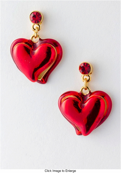 "1"" Red Heart Earrings"