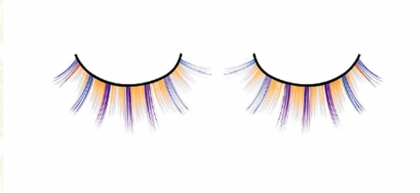 Yellow Party Lashes with Blue and Purple Whisps
