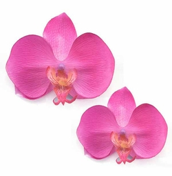 Fuchsia Silk Orchid Flower Hair Clip