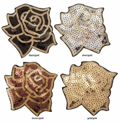 "4"" Sequin Rose Applique Hair Clip"
