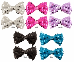 "3.5"" Wide Mesh and Sequin Bow Pony Elastic Hair Clip Pair"