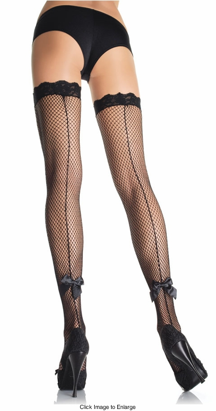 Fishnet Thigh High Stockings with Back Seam And Bows