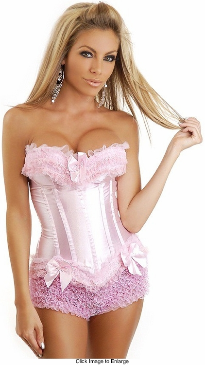 Pink Satin Corset with Pink Lace Trim and Pink Ruffled Shorts