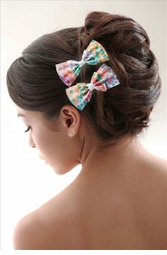 Polka Dot Bow Hair Clips Pair