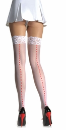 Sheer Lace Top Stockings with Printed Hearts Back Seam