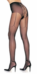 Faux Garter Belt  French Net Pantyhose