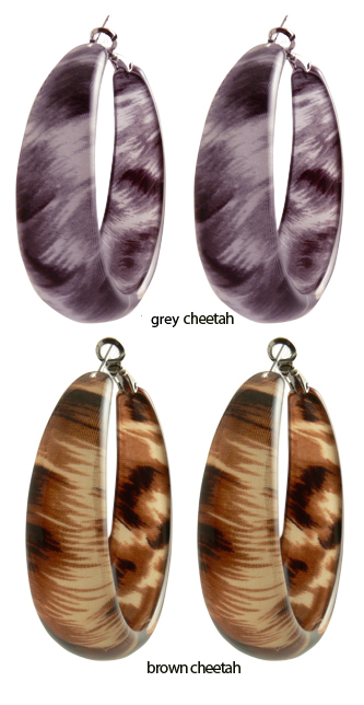 "2"" Cheetah Print Resin Hoops Earrings"