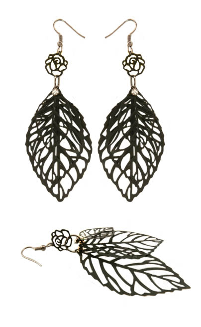 "4"" Triple Leaf Earrings"