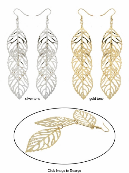 "4"" Leaf Dangle Earrings"