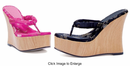 "4"" Platform Geisha Shoes with Satin Strap"