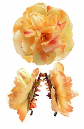 "4.5"" Yellow Peony Flower Hair Clip"