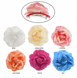 "4"" Wide Crinkle Rose French Barette Pony Tail  Hair Clip"