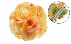 "4"" Yellow Peony French Barette Pony Tail Hair Clip"