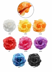 "4.5"" Chiffon and Satin Flower Hair Clip"