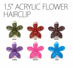 "1.5"" Acrylic Flower Hair Clip in 6 Colors"