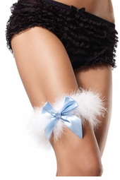 Marabou Feather Garter with Satin Bow