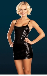Black Sequin Mini Dress with Thin Straps.