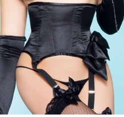 Black Satin Waist Cincher with Attached Garters and Bow