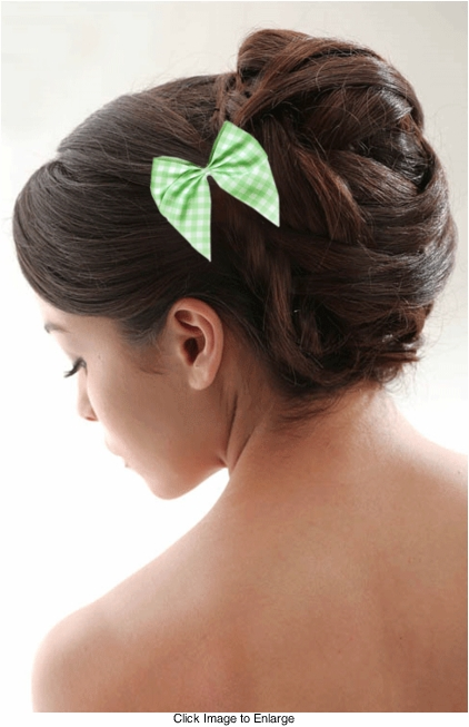 "3.5"" Wide White and Green Checker Hair Bow"