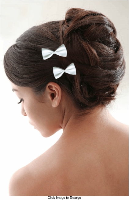 "3"" White Grosgrain Ribbon Hair Bows Pair"