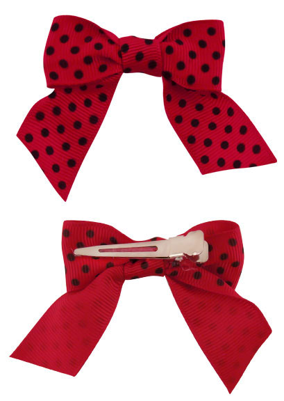"3"" Red with Black Dots Bow Hair Clips Pair"
