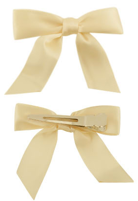 "2.5"" Satin Ribbon Bow Hair Clips Pair"