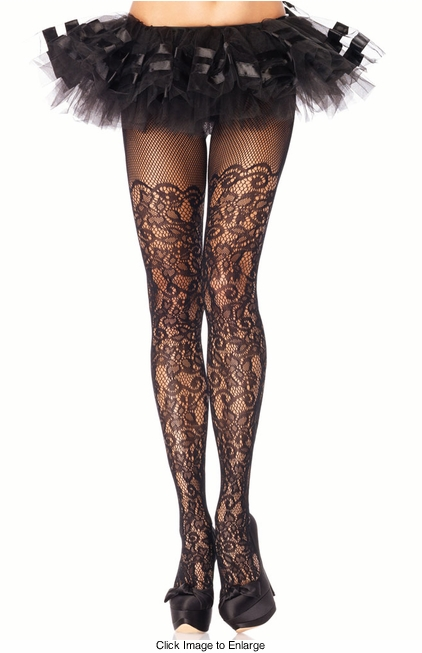 Floral Lace Net Pantyhose with Fishnet Top