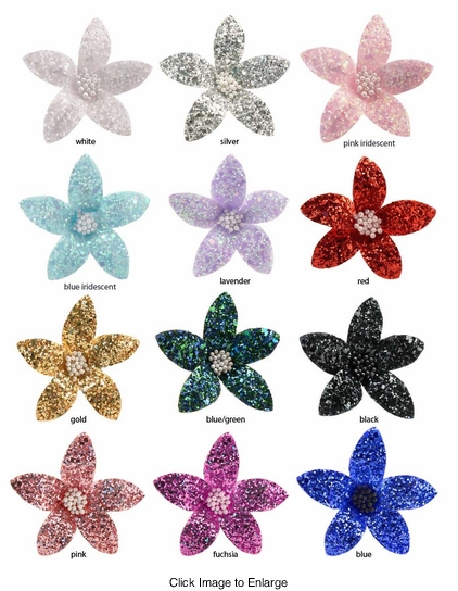 "2.5"" Wide Glitter Flower Hair Clip"