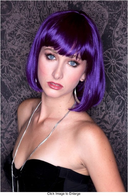 Purple Bob Wig with Bangs