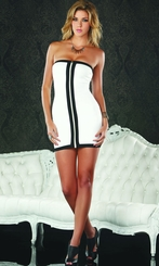 White Dress With Contrast Front Zipper