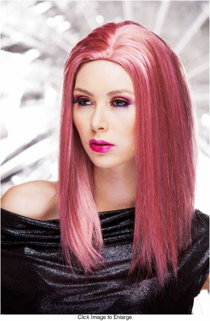 Straight Wig with Razored Edges in Pink Venom Color