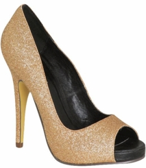 "5"" Gold Sparkle PeepToe Pumps with 0.5"" Platform from Michael Antonio"