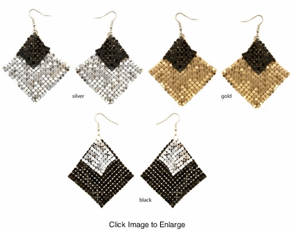 "3"" Dangle Metal Dot Square Earrings"