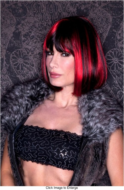 Black and Red Bob Style Wig with Bangs (Black Cherry)