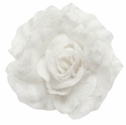 "4"" Plush Snow Flocked White Rose Hair Clip"