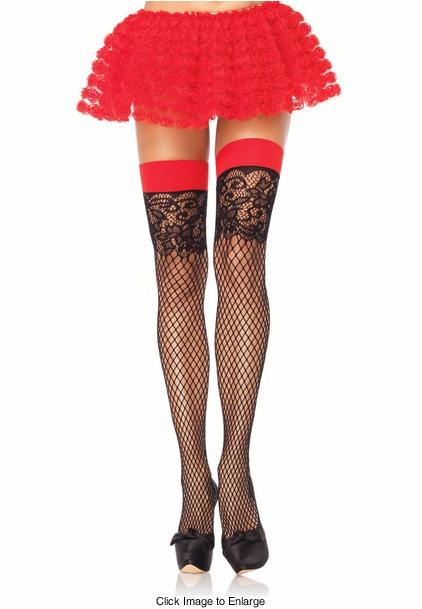 Fishnet Stockings with Floral Lace Top and Contrast Cuff